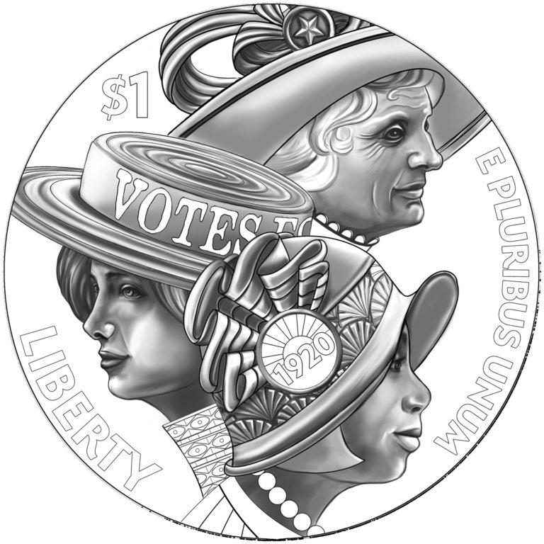 2020 Women's Suffrage Centennial Commemorative Coin Line Art Obverse