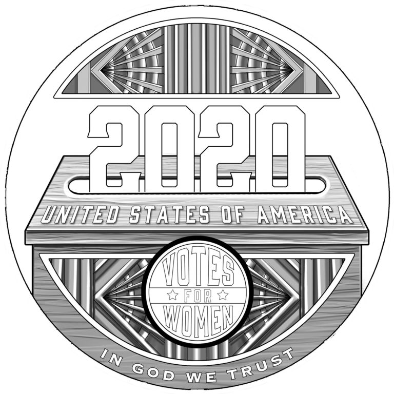 2020 Women's Suffrage Centennial Commemorative Coin Line Art Reverse