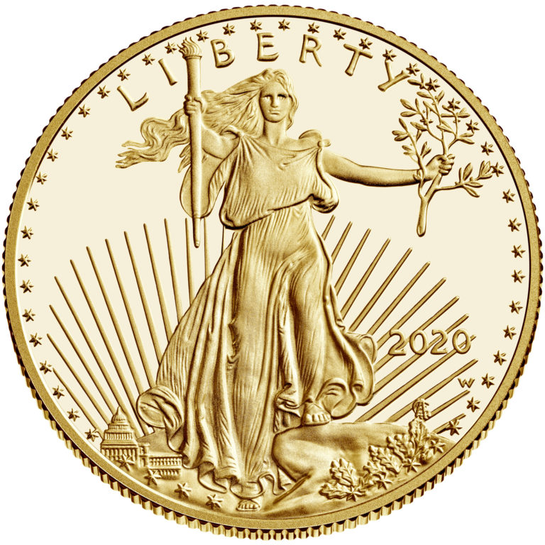 2020 American Eagle Gold Half Ounce Proof Coin Obverse