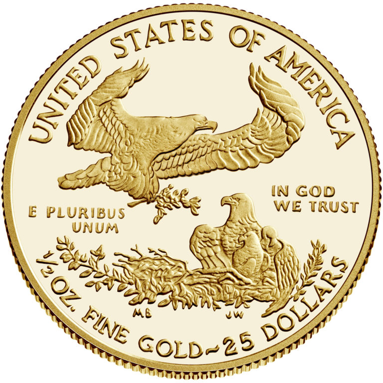 2020 American Eagle Gold Half Ounce Proof Coin Reverse
