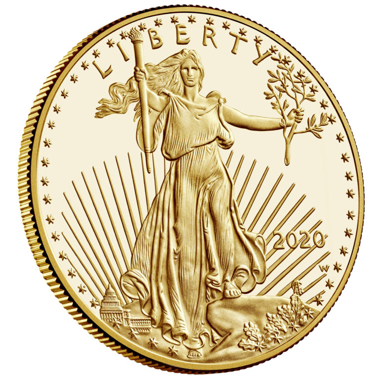 2020 American Eagle Gold One Ounce Proof Coin Obverse Angle