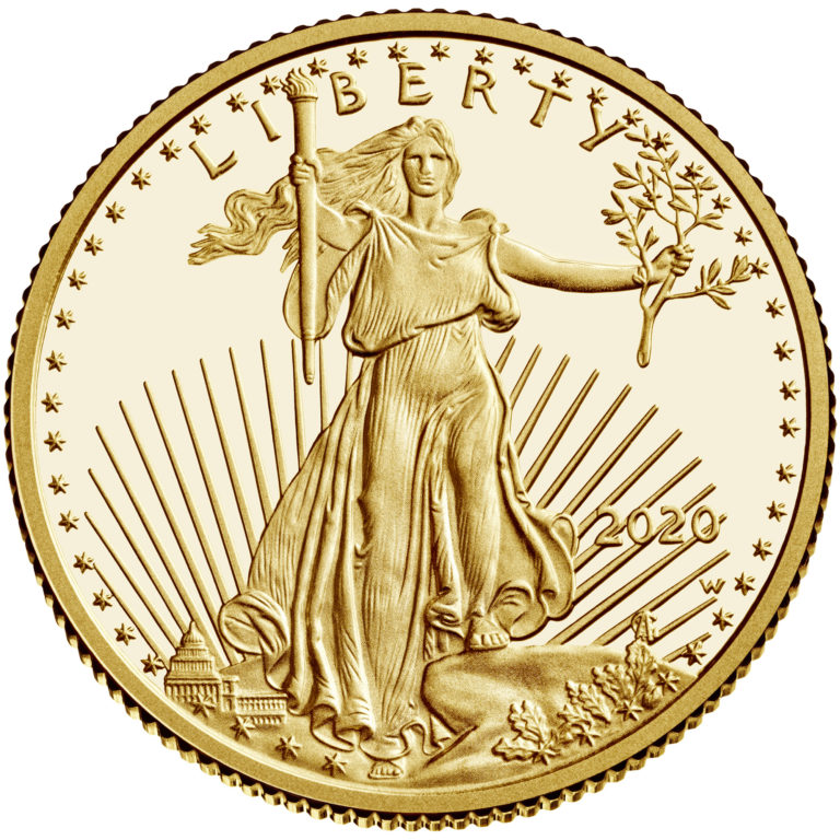2020 American Eagle Gold Quarter Ounce Proof Coin Obverse