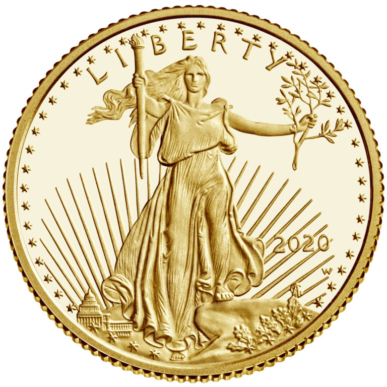 2020 American Eagle Gold Tenth Ounce Proof Coin Obverse