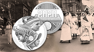 Women's Suffrage 100 year anniversary coin design homepage feature