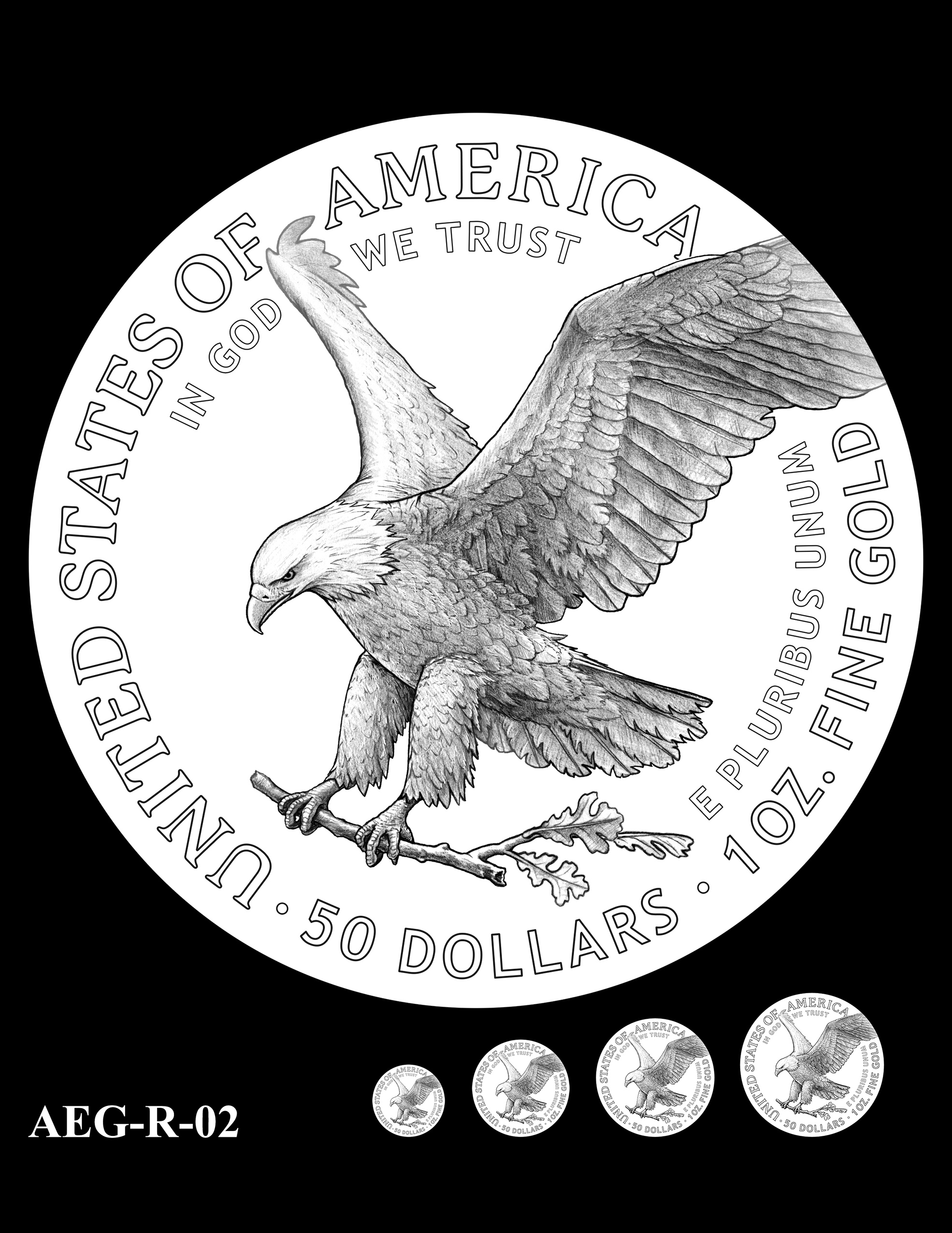 AEG-R-02 -- American Eagle Proof and Bullion Gold Coin - Reverse
