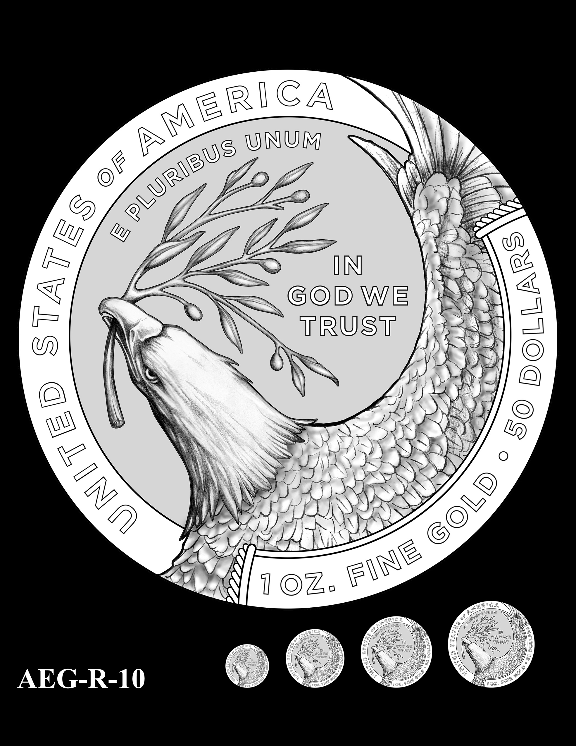 AEG-R-10 -- American Eagle Proof and Bullion Gold Coin - Reverse