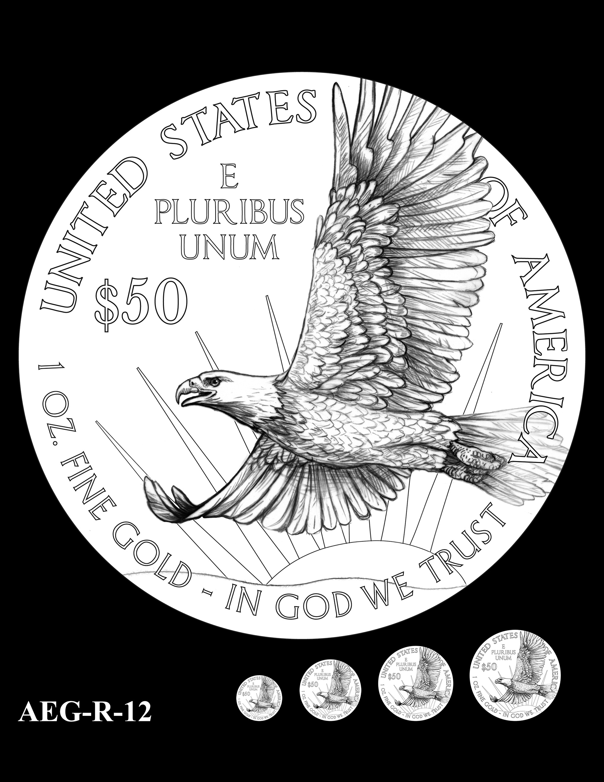 AEG-R-12 -- American Eagle Proof and Bullion Gold Coin - Reverse