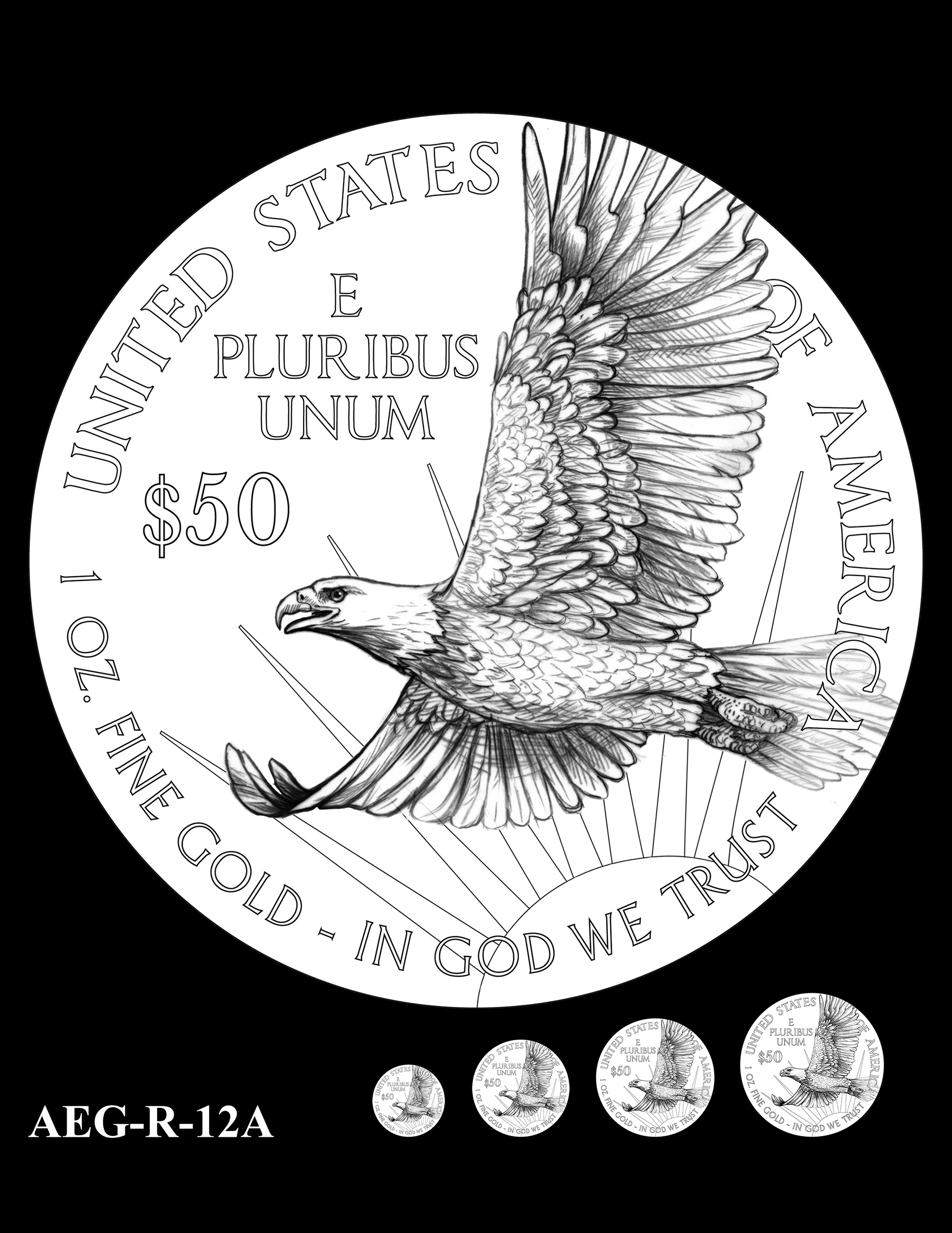 AEG-R-12A -- American Eagle Proof and Bullion Gold Coin - Reverse