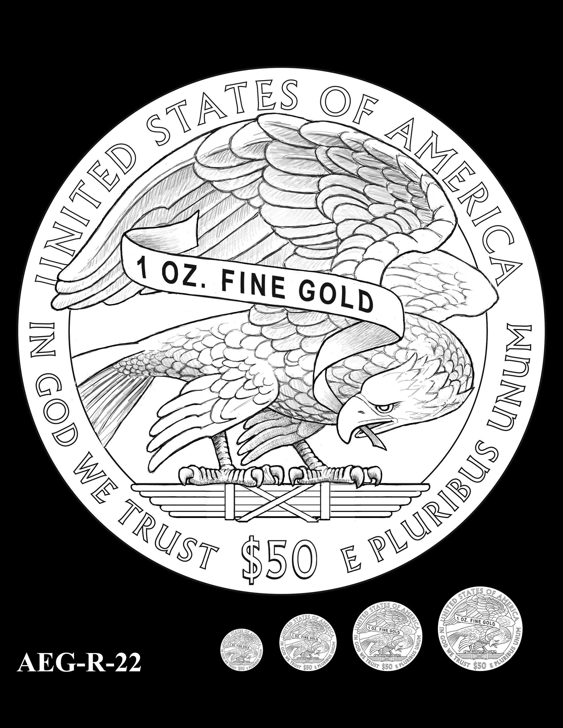 AEG-R-22 -- American Eagle Proof and Bullion Gold Coin - Reverse