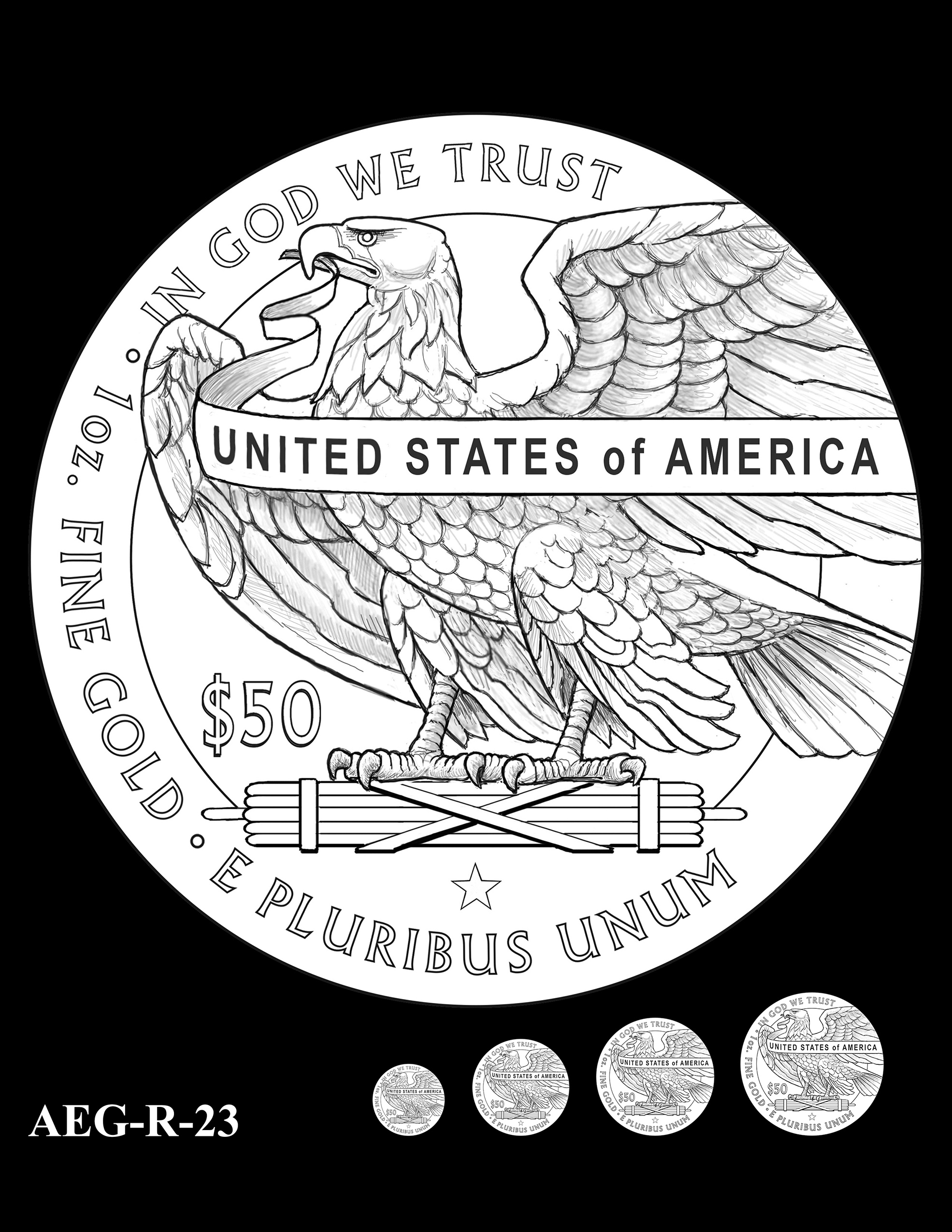AEG-R-23 -- American Eagle Proof and Bullion Gold Coin - Reverse