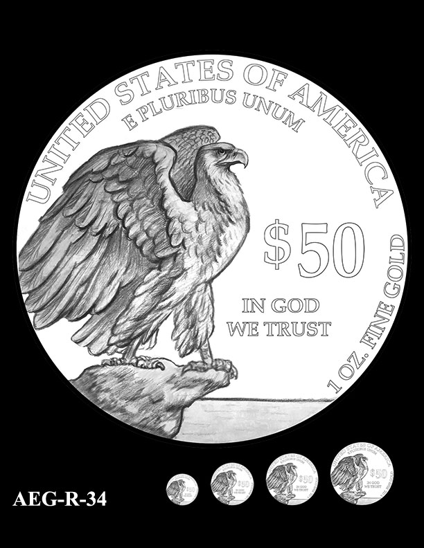 AEG-R-34 -- American Eagle Proof and Bullion Gold Coin - Reverse