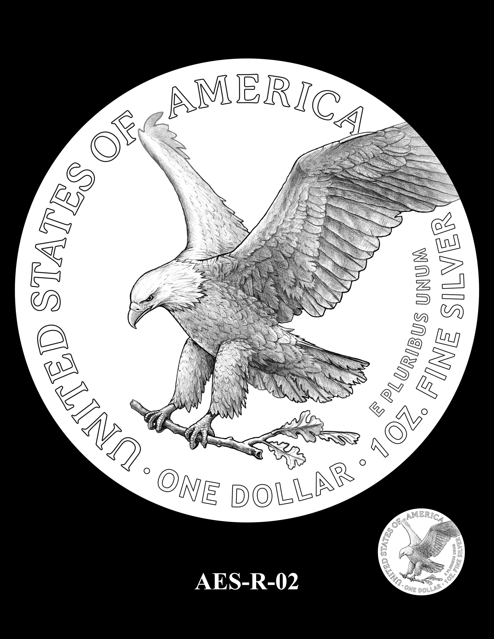 AES-R-02 -- American Eagle Proof and Bullion Silver Coin - Reverse
