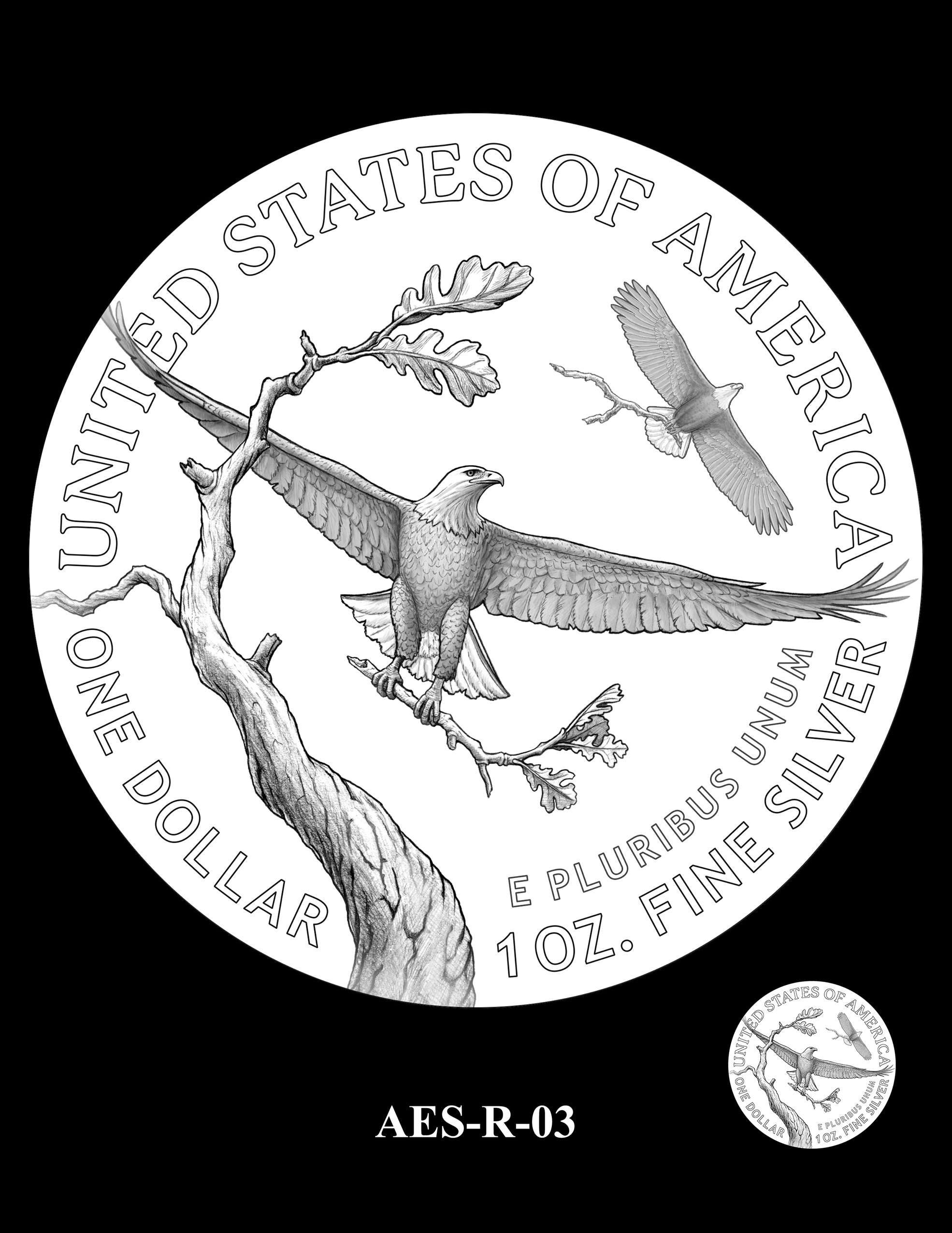 AES-R-03 -- American Eagle Proof and Bullion Silver Coin - Reverse