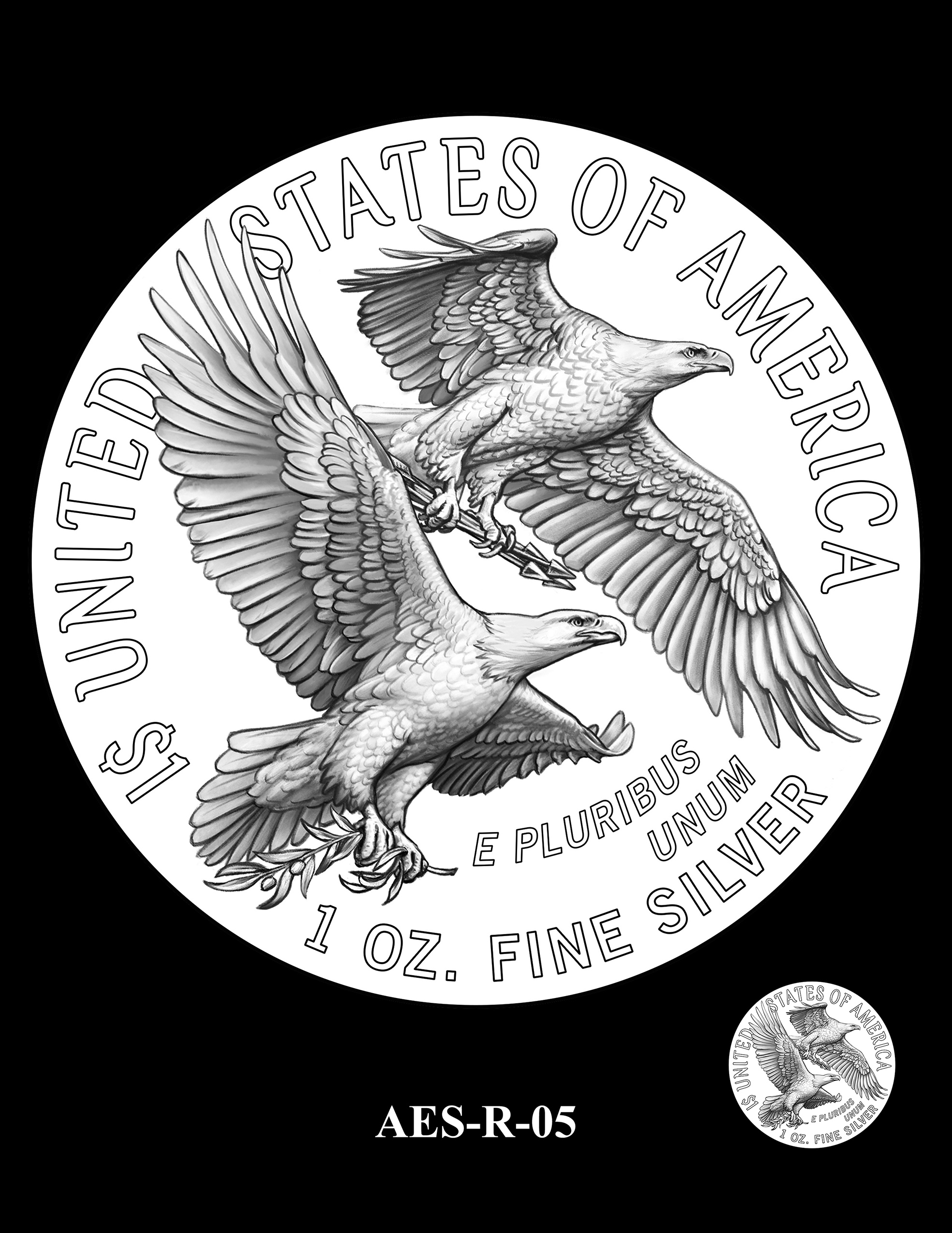 AES-R-05 -- American Eagle Proof and Bullion Silver Coin - Reverse