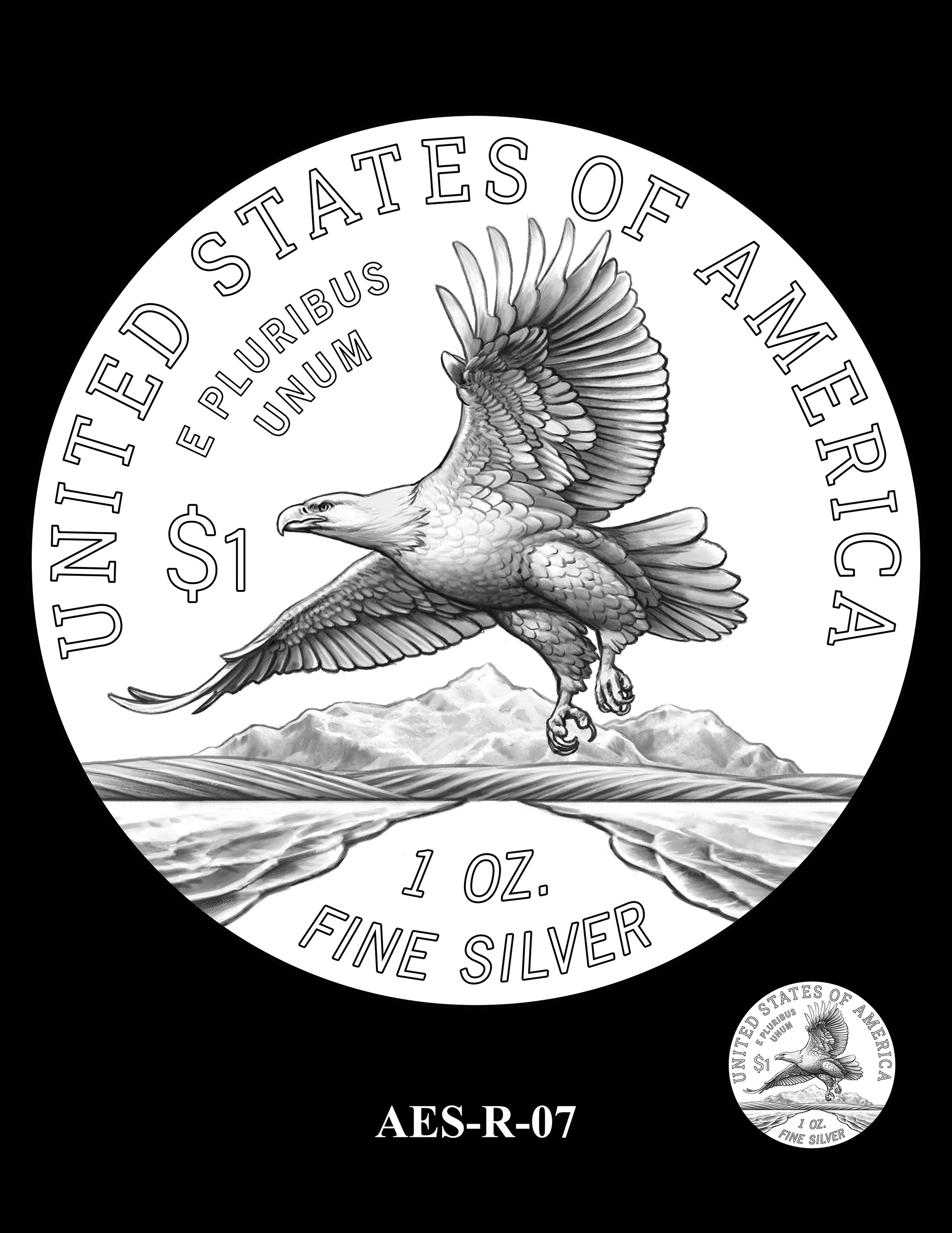 AES-R-07 -- American Eagle Proof and Bullion Silver Coin - Reverse