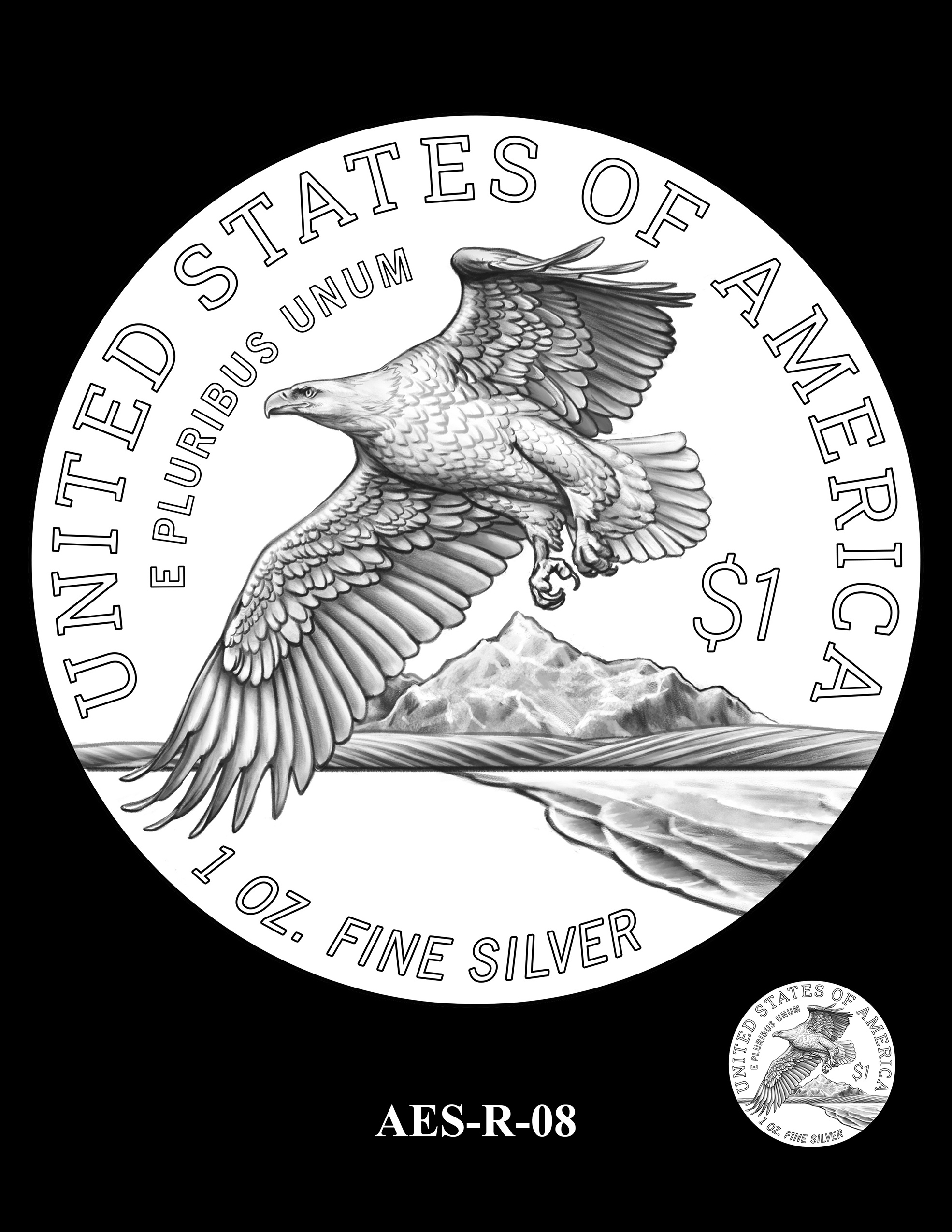 AES-R-08 -- American Eagle Proof and Bullion Silver Coin - Reverse