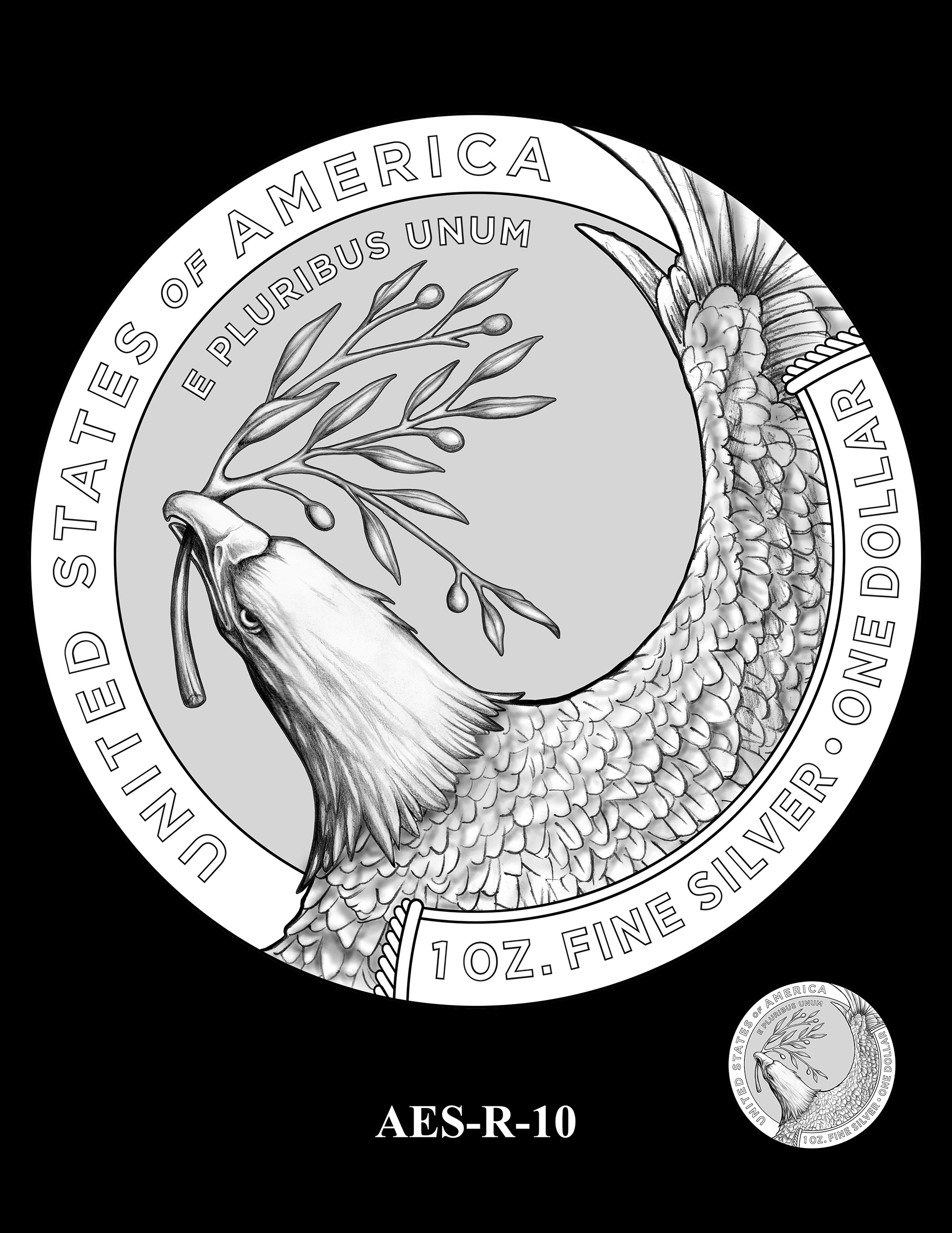 AES-R-10 -- American Eagle Proof and Bullion Silver Coin - Reverse
