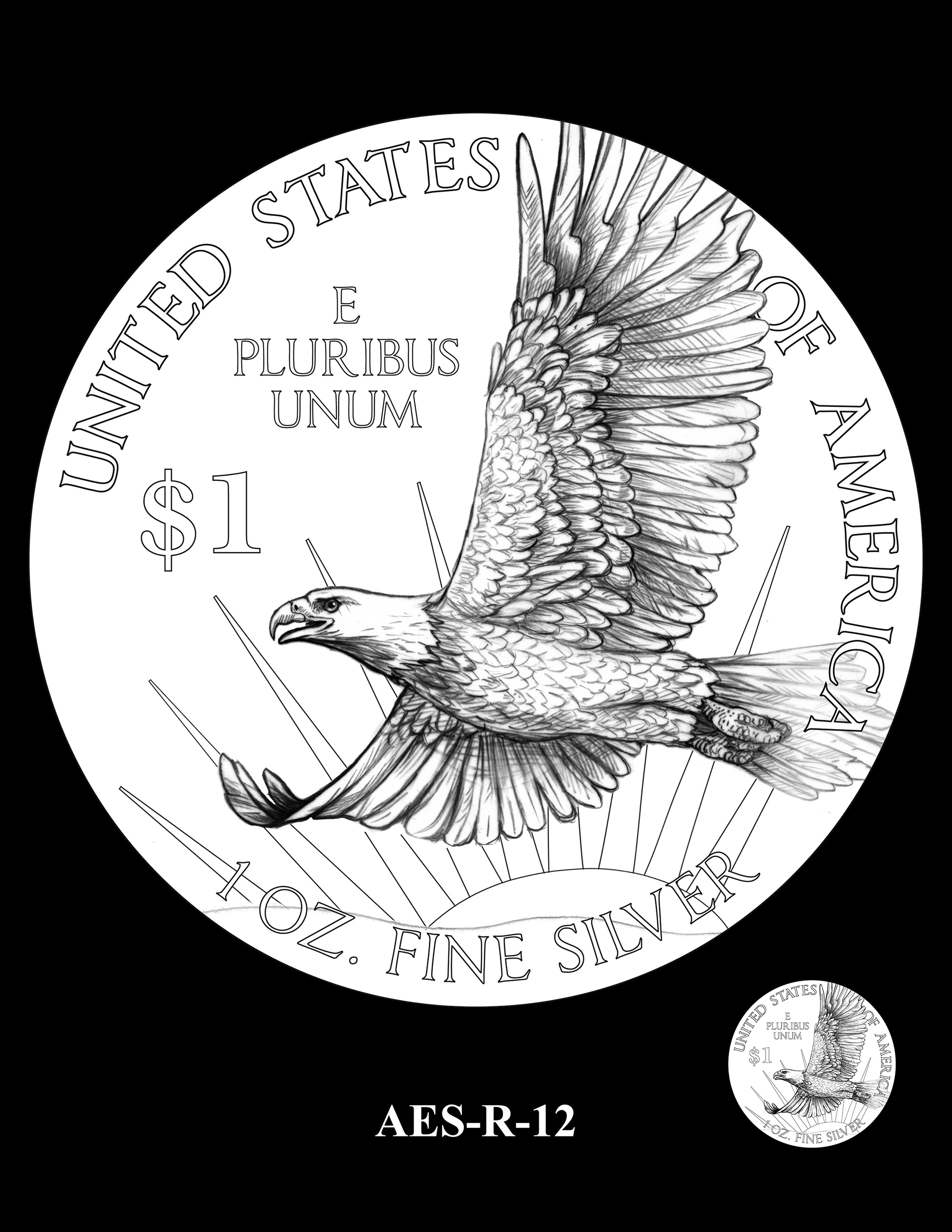 AES-R-12 -- American Eagle Proof and Bullion Silver Coin - Reverse