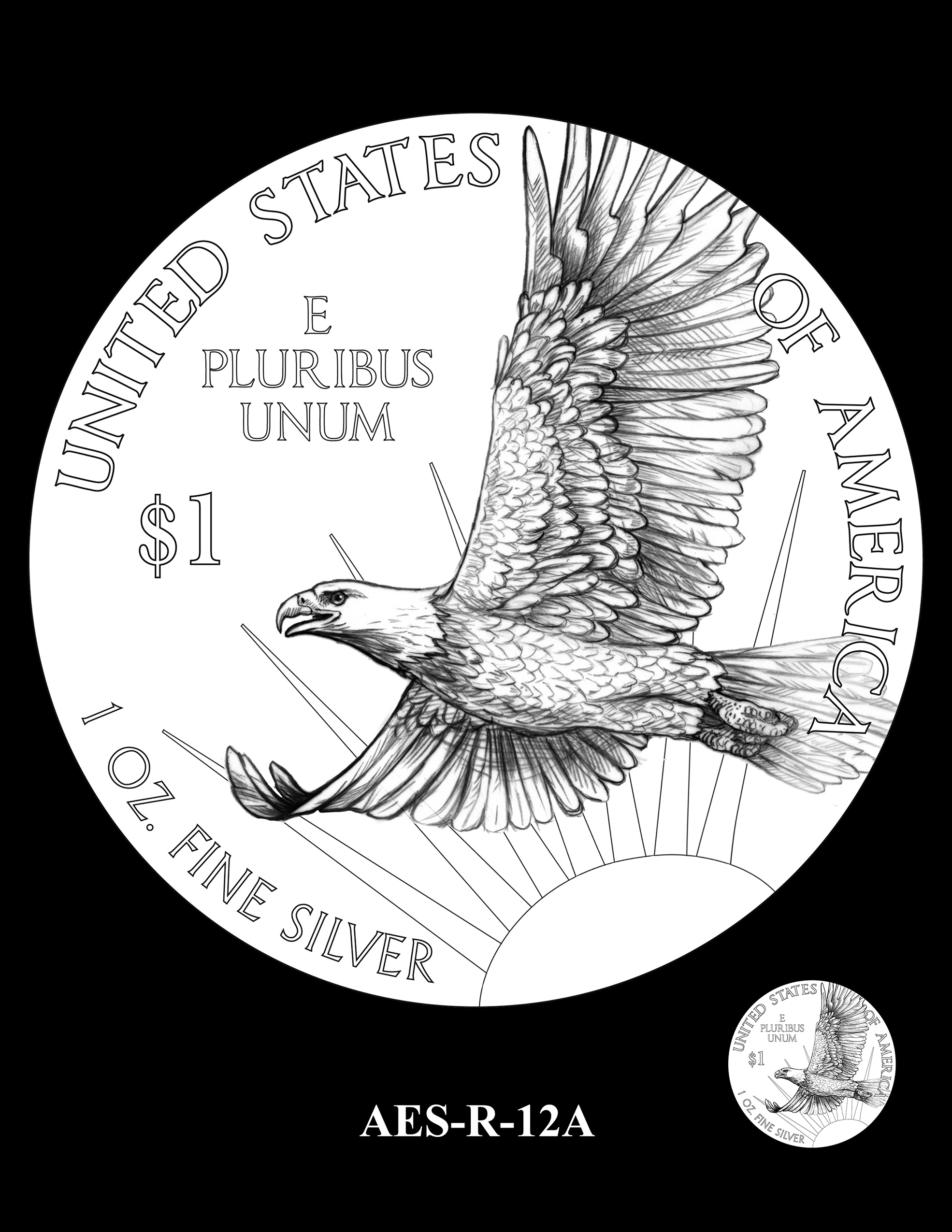 AES-R-12A -- American Eagle Proof and Bullion Silver Coin - Reverse