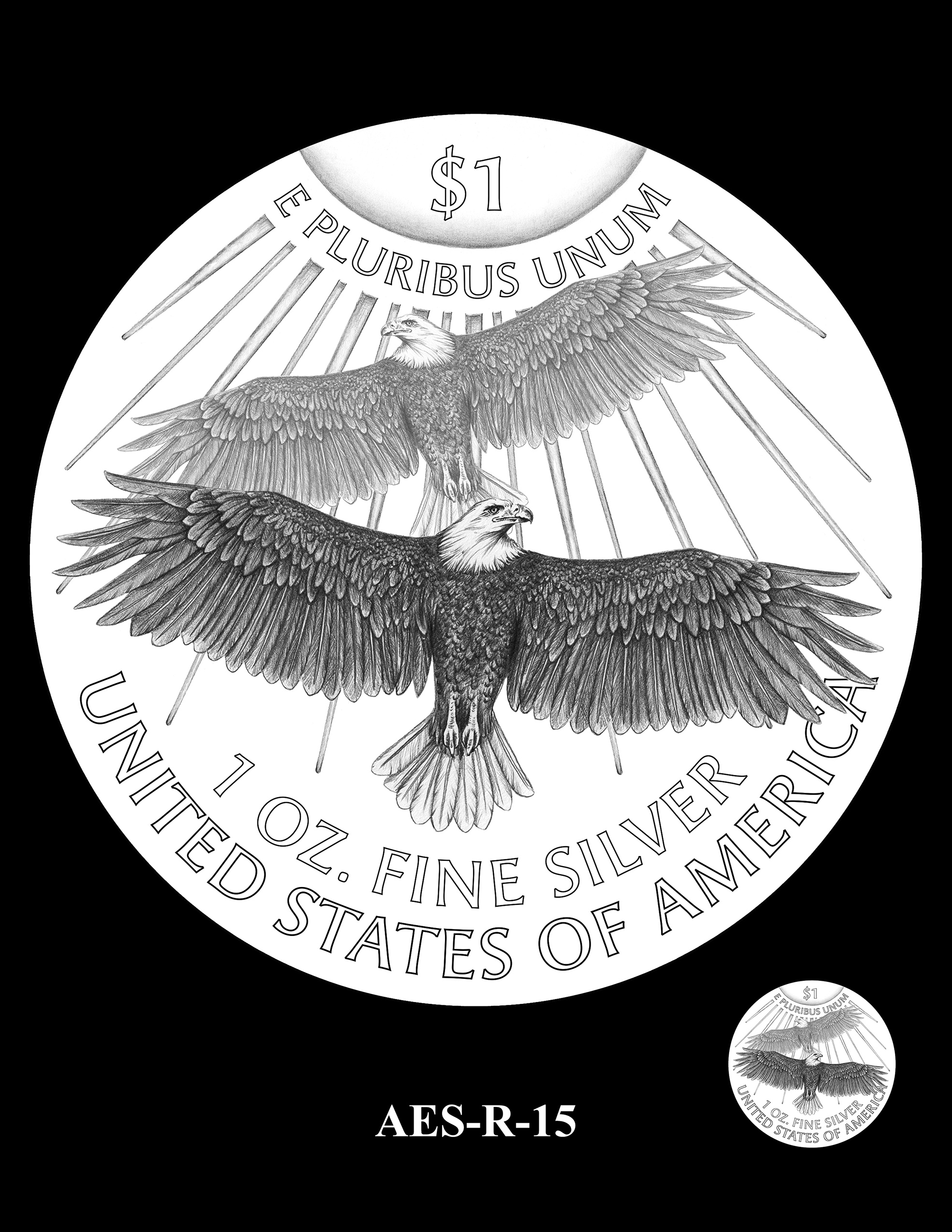 AES-R-15 -- American Eagle Proof and Bullion Silver Coin - Reverse