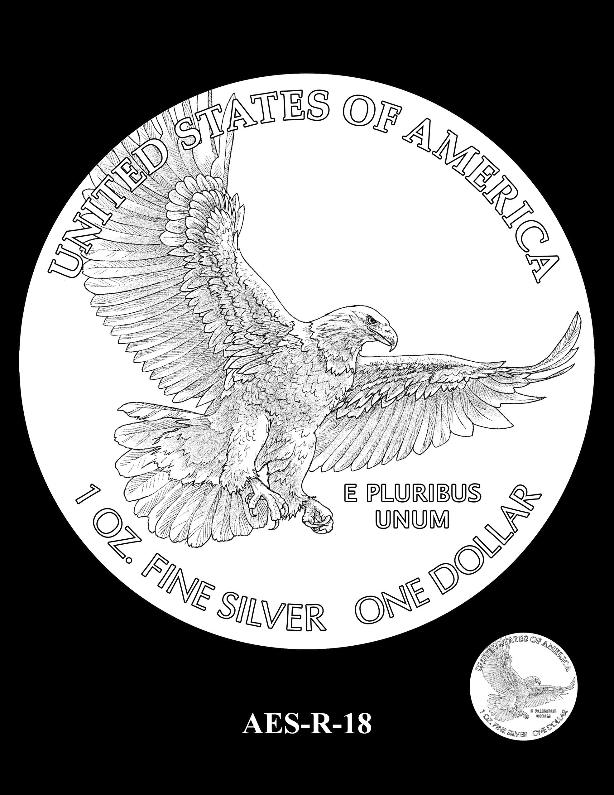 AES-R-18 -- American Eagle Proof and Bullion Silver Coin - Reverse
