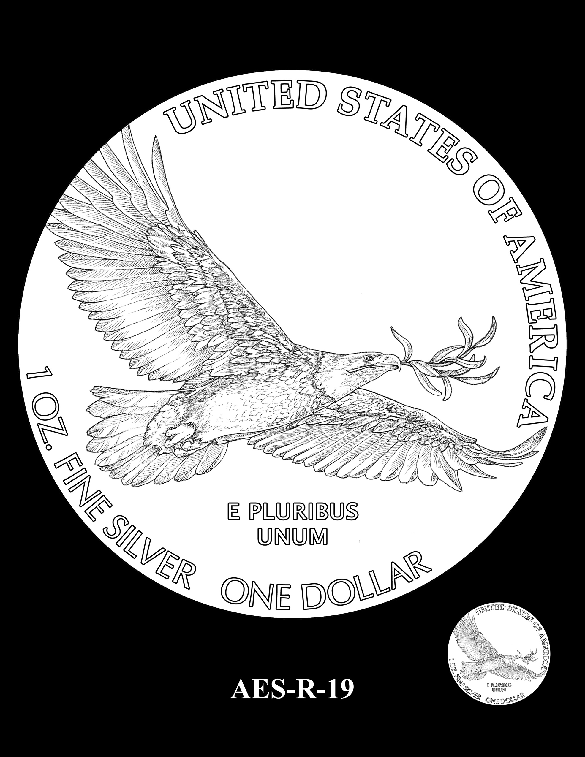 AES-R-19 -- American Eagle Proof and Bullion Silver Coin - Reverse