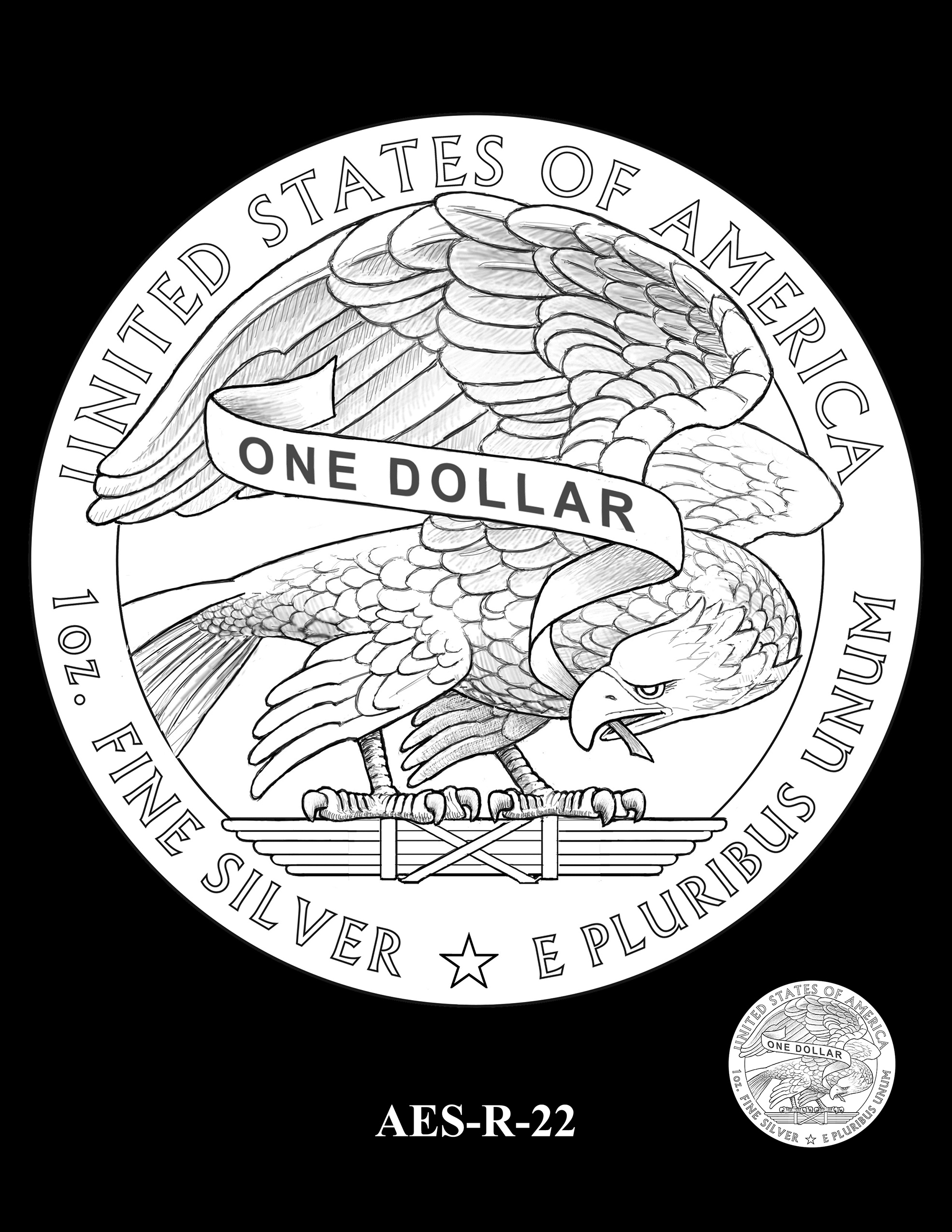 AES-R-22 -- American Eagle Proof and Bullion Silver Coin - Reverse