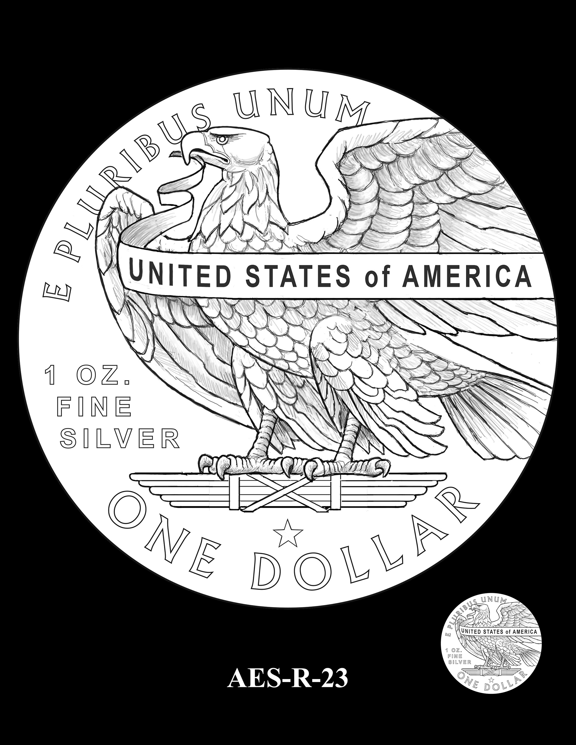AES-R-23 -- American Eagle Proof and Bullion Silver Coin - Reverse