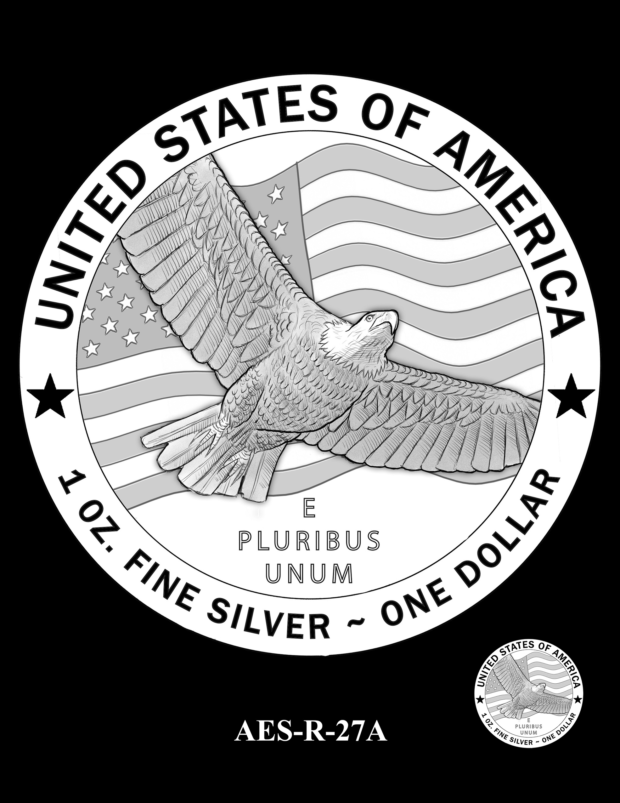 AES-R-27A -- American Eagle Proof and Bullion Silver Coin - Reverse