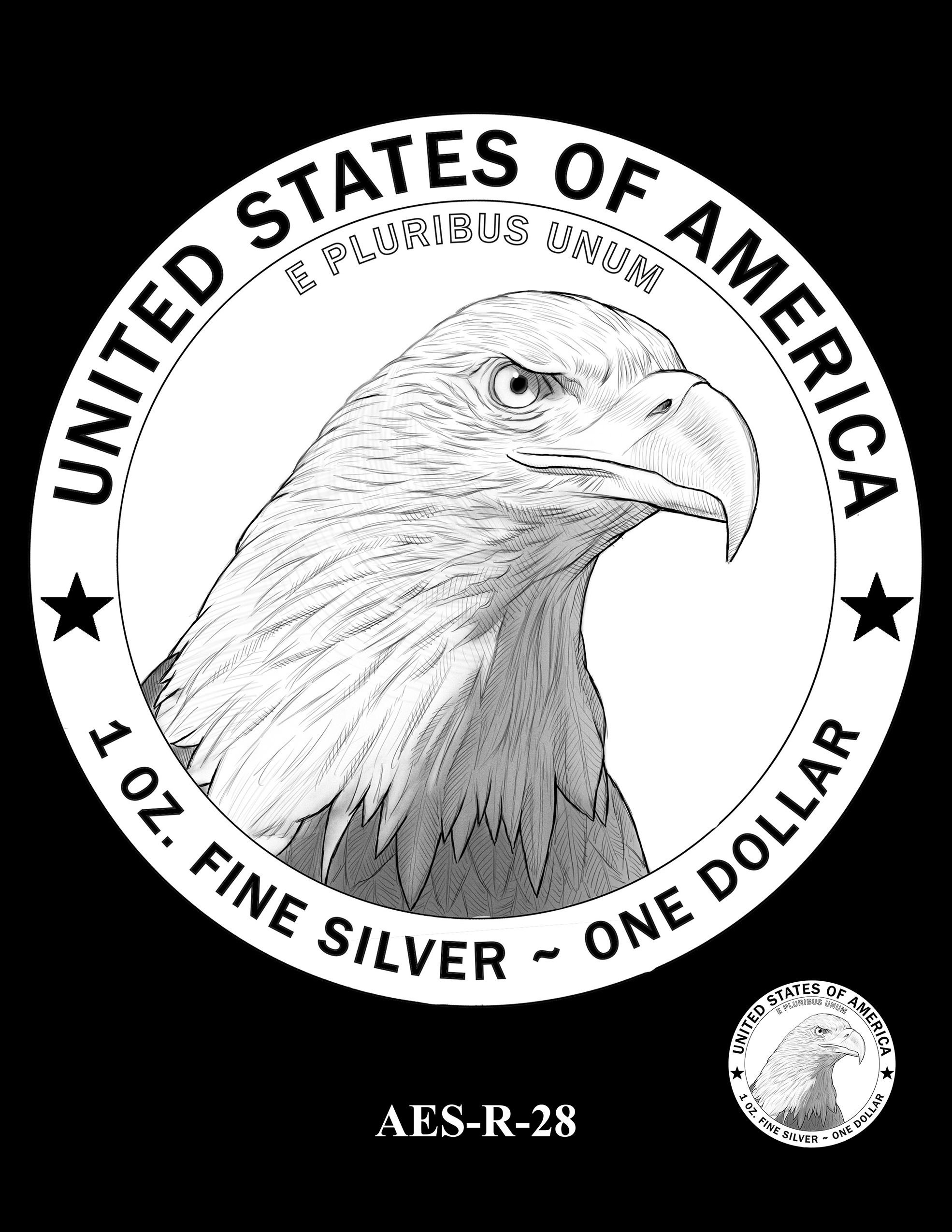 AES-R-28 -- American Eagle Proof and Bullion Silver Coin - Reverse