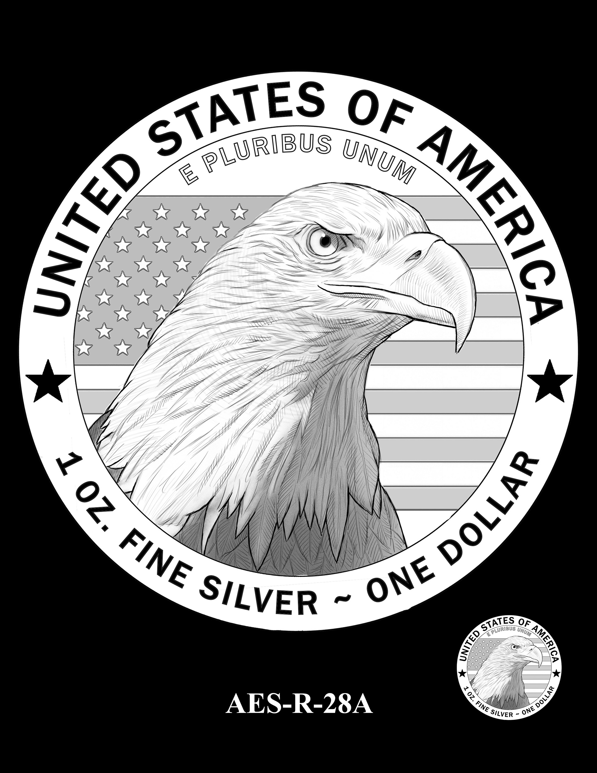 AES-R-28A -- American Eagle Proof and Bullion Silver Coin - Reverse