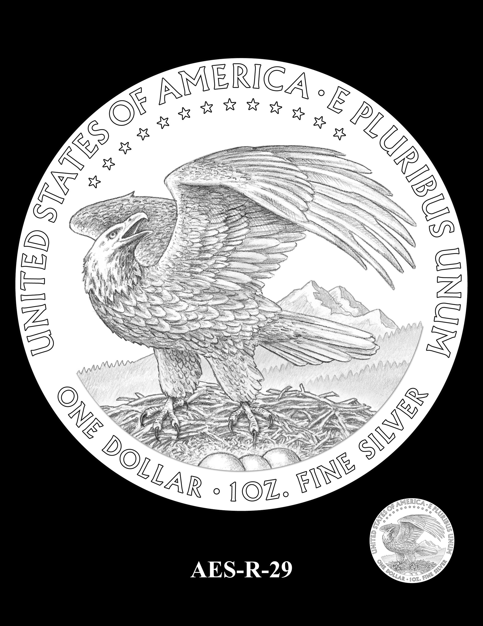 AES-R-29 -- American Eagle Proof and Bullion Silver Coin - Reverse