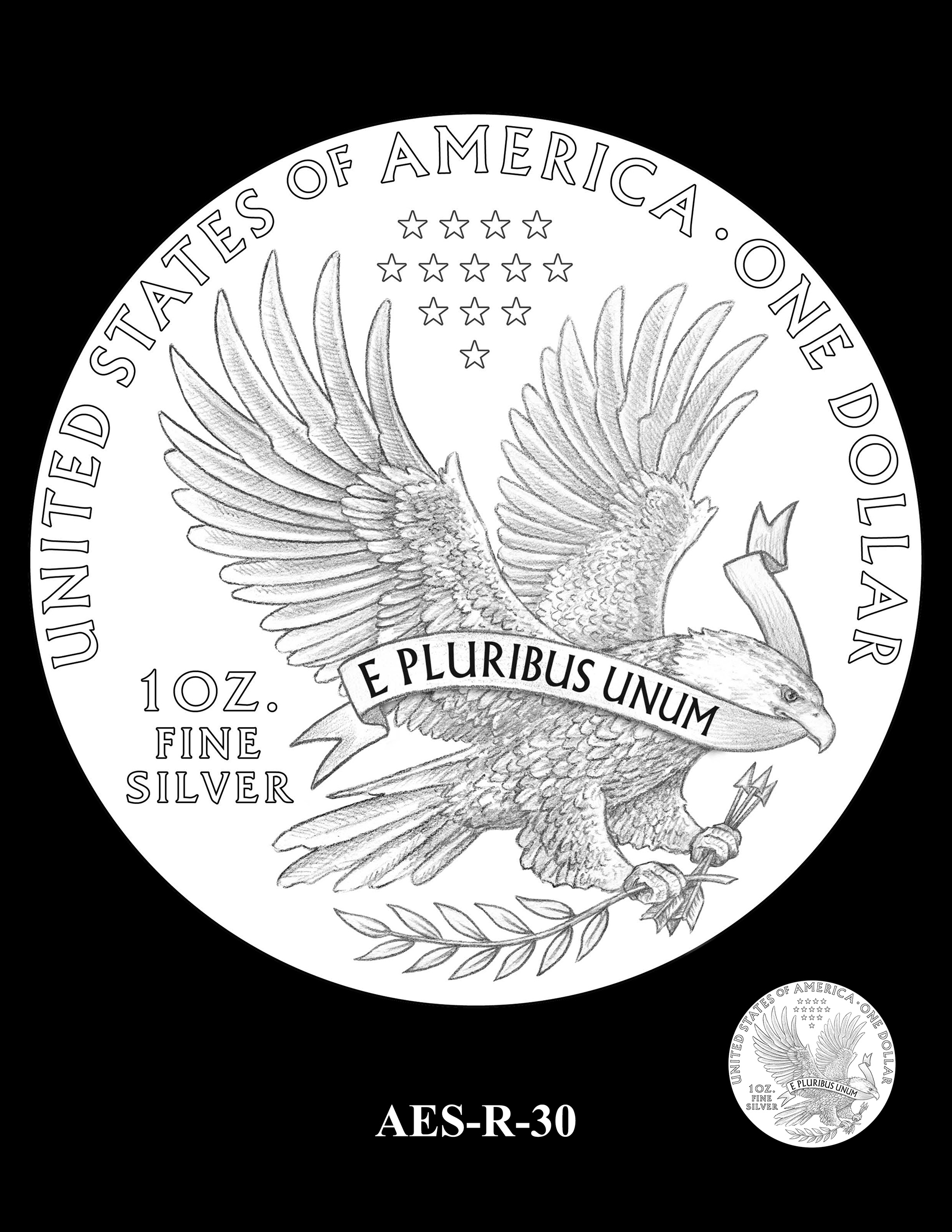 AES-R-30 -- American Eagle Proof and Bullion Silver Coin - Reverse