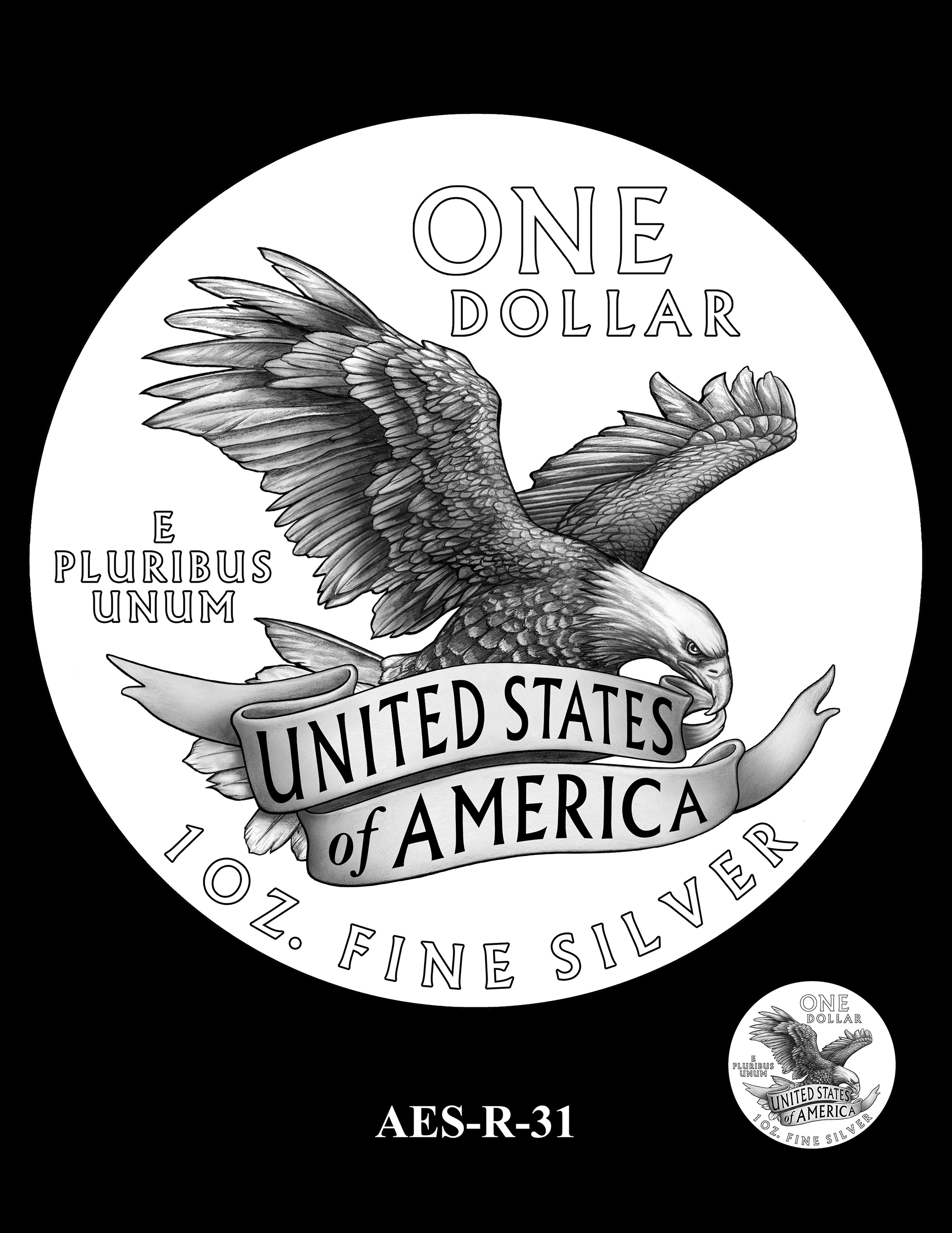 AES-R-31 -- American Eagle Proof and Bullion Silver Coin - Reverse