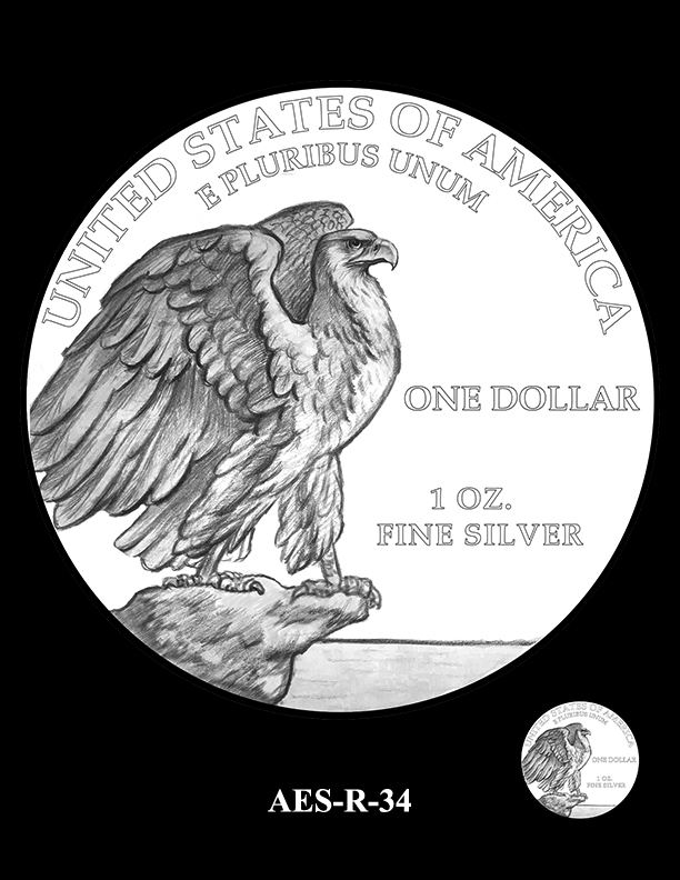 AES-R-34 -- American Eagle Proof and Bullion Silver Coin - Reverse