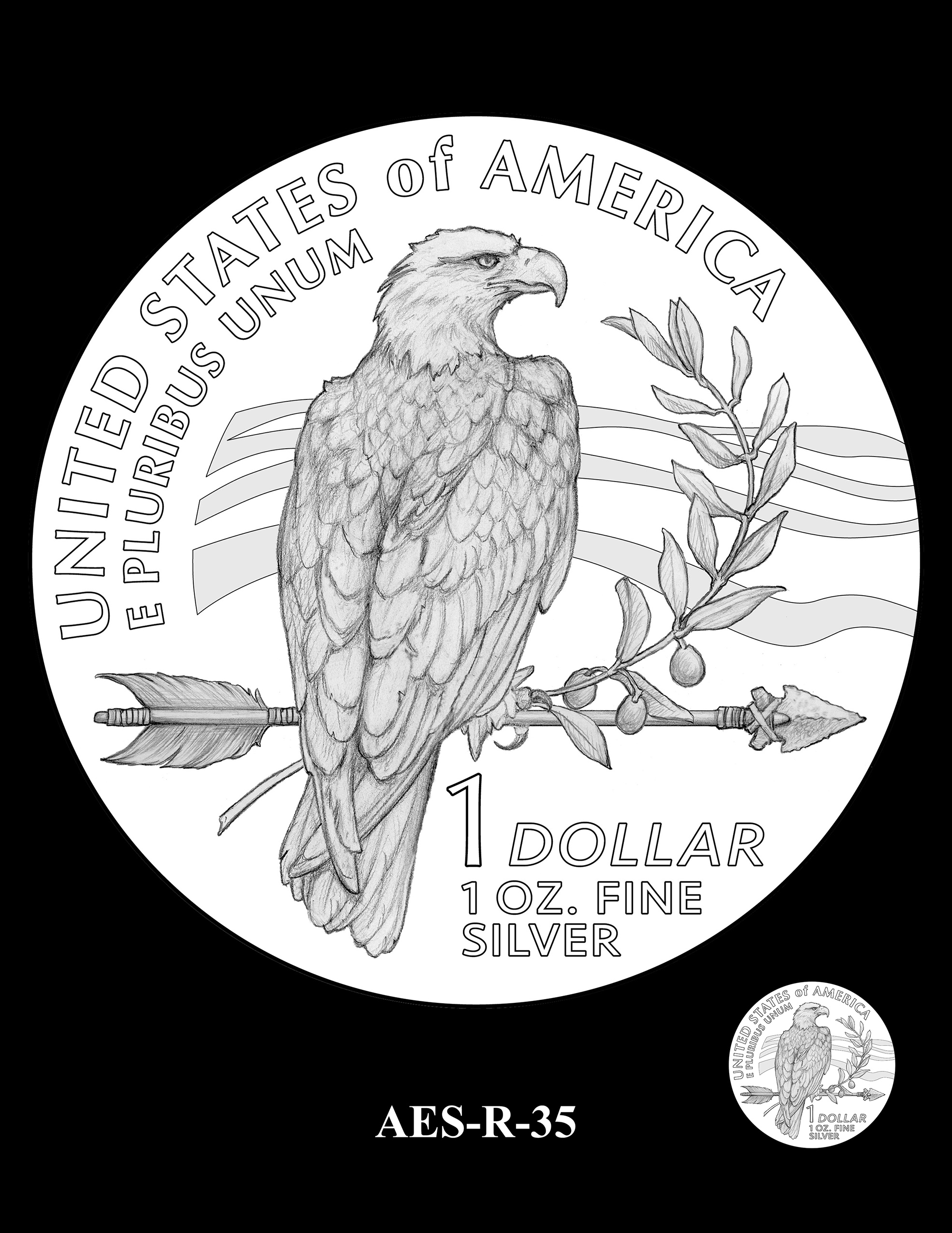 AES-R-35 -- American Eagle Proof and Bullion Silver Coin - Reverse