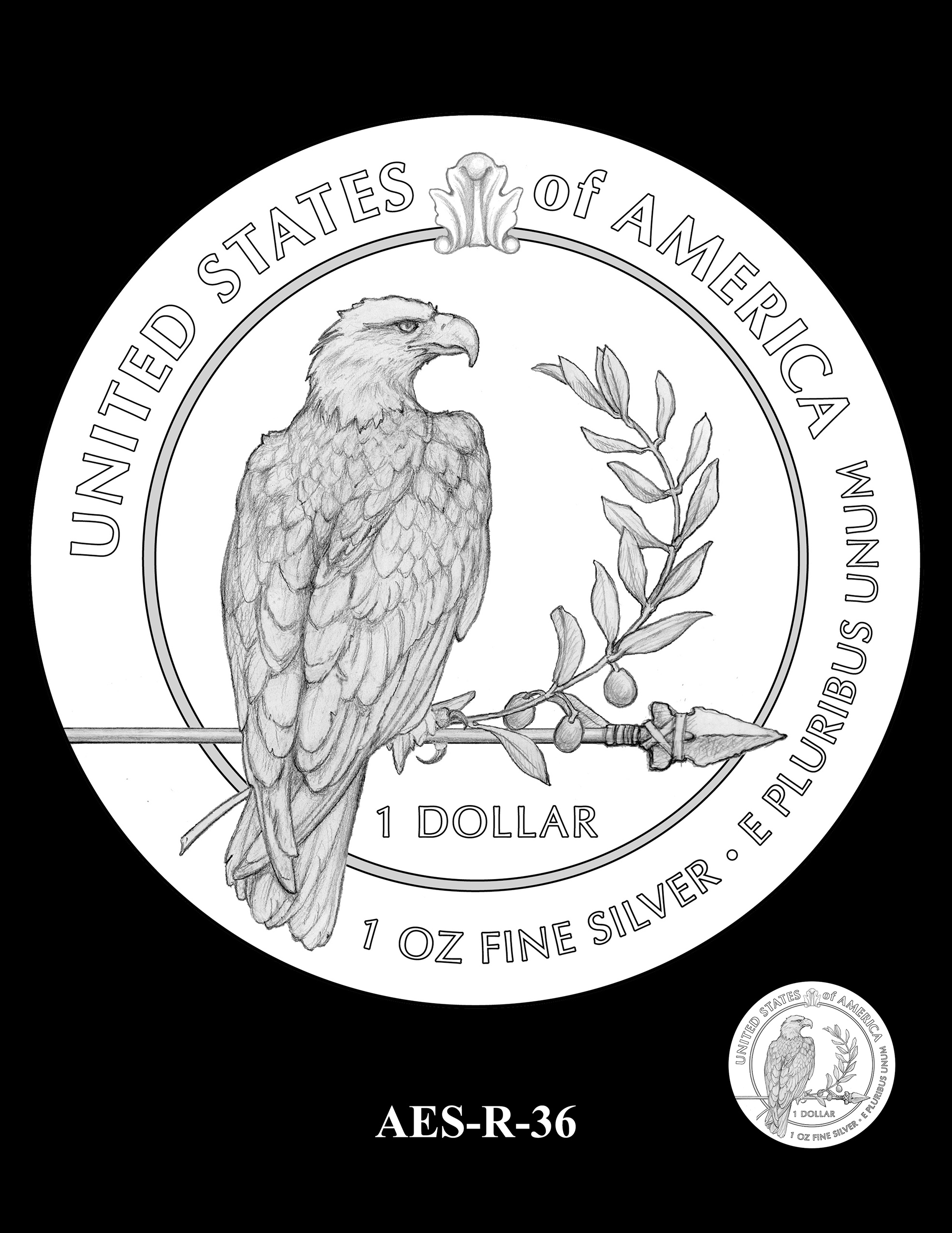 AES-R-36 -- American Eagle Proof and Bullion Silver Coin - Reverse