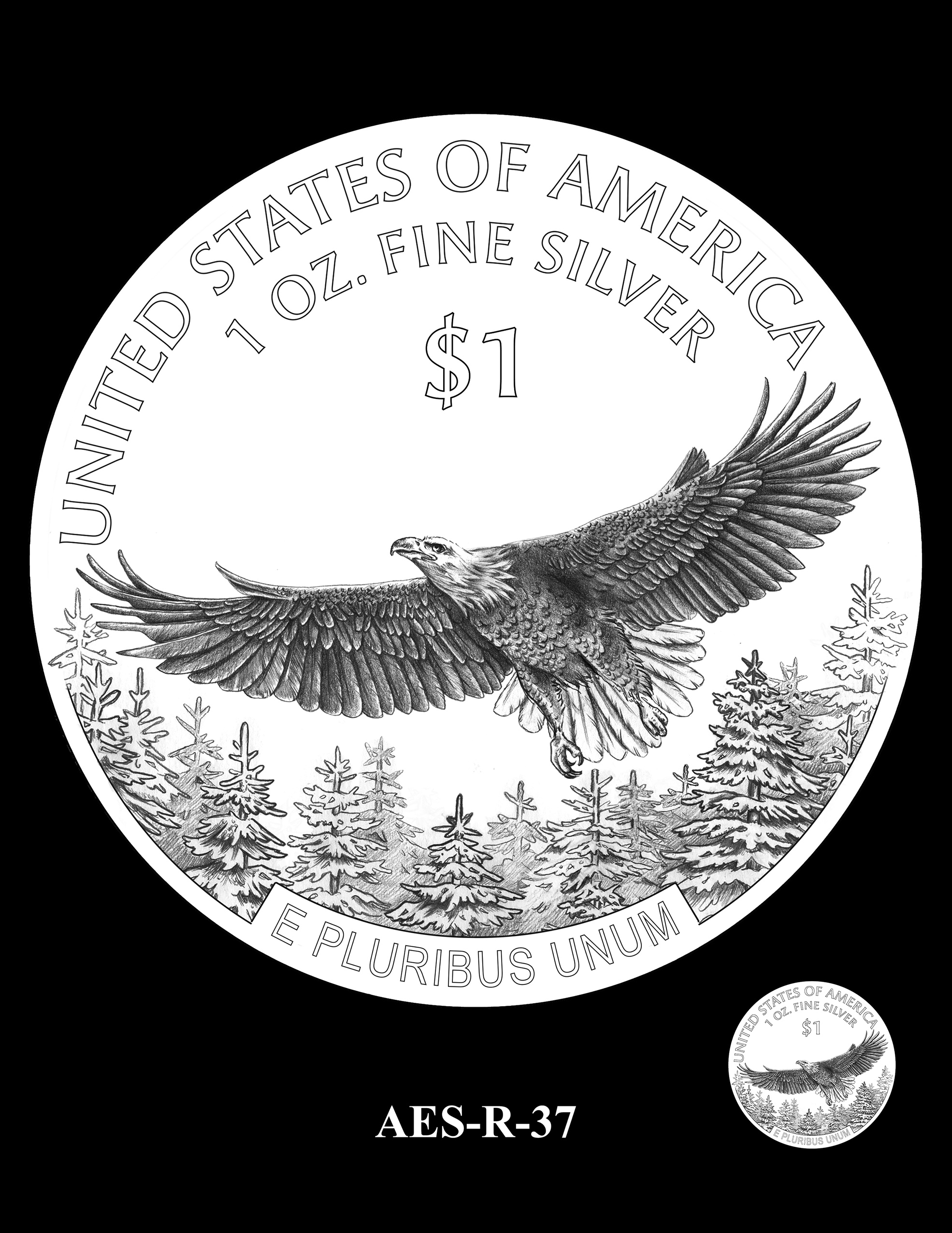 AES-R-37 -- American Eagle Proof and Bullion Silver Coin - Reverse