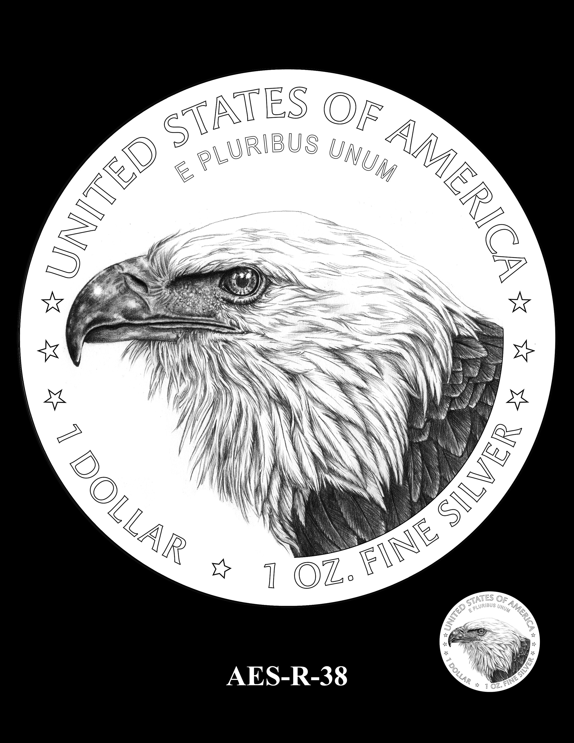 AES-R-38 -- American Eagle Proof and Bullion Silver Coin - Reverse