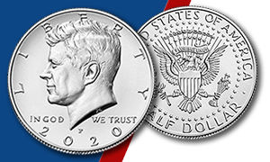 2020 Kennedy half dollar obverse and reverse Learn feature