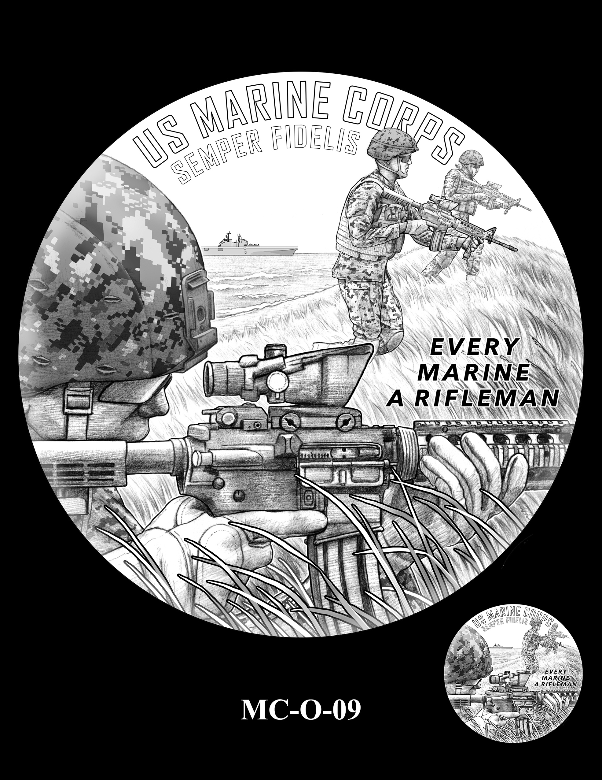MC-O-09 -- United States Marine Corps Silver Medal