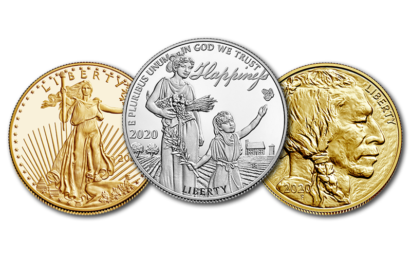 2020 American Eagle gold coin, Pursuit of Happiness silver coin, and Buffalo gold coin foreground images