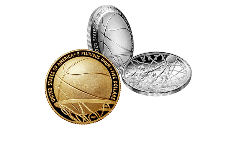 2020 basketball hall of fame gold obverse and silver obverse and reverse