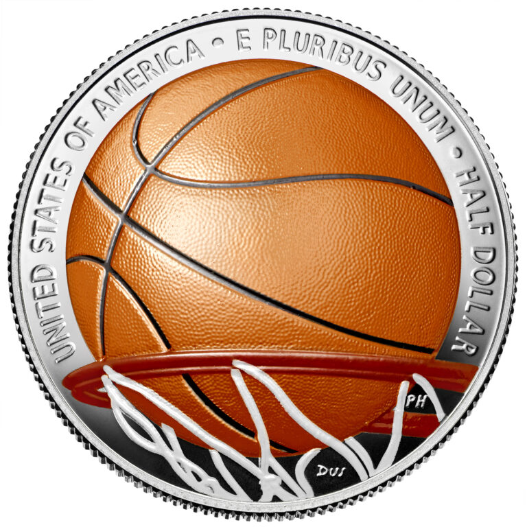 2020 Basketball Hall of Fame Commemorative Clad Half Dollar Proof Colorized Reverse
