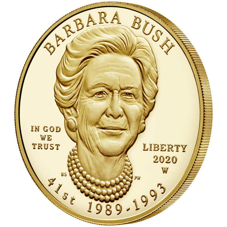 2020 First Spouse Gold Coin Barbara Bush Proof Obverse Angle