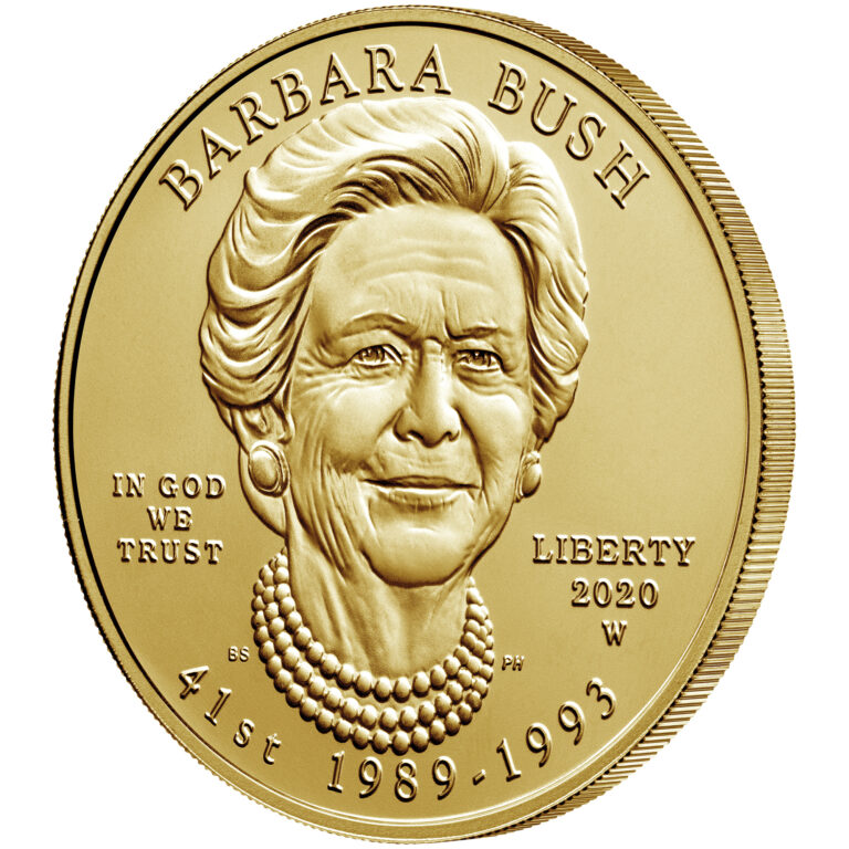 2020 First Spouse Gold Coin Barbara Bush Uncirculated Obverse Angle