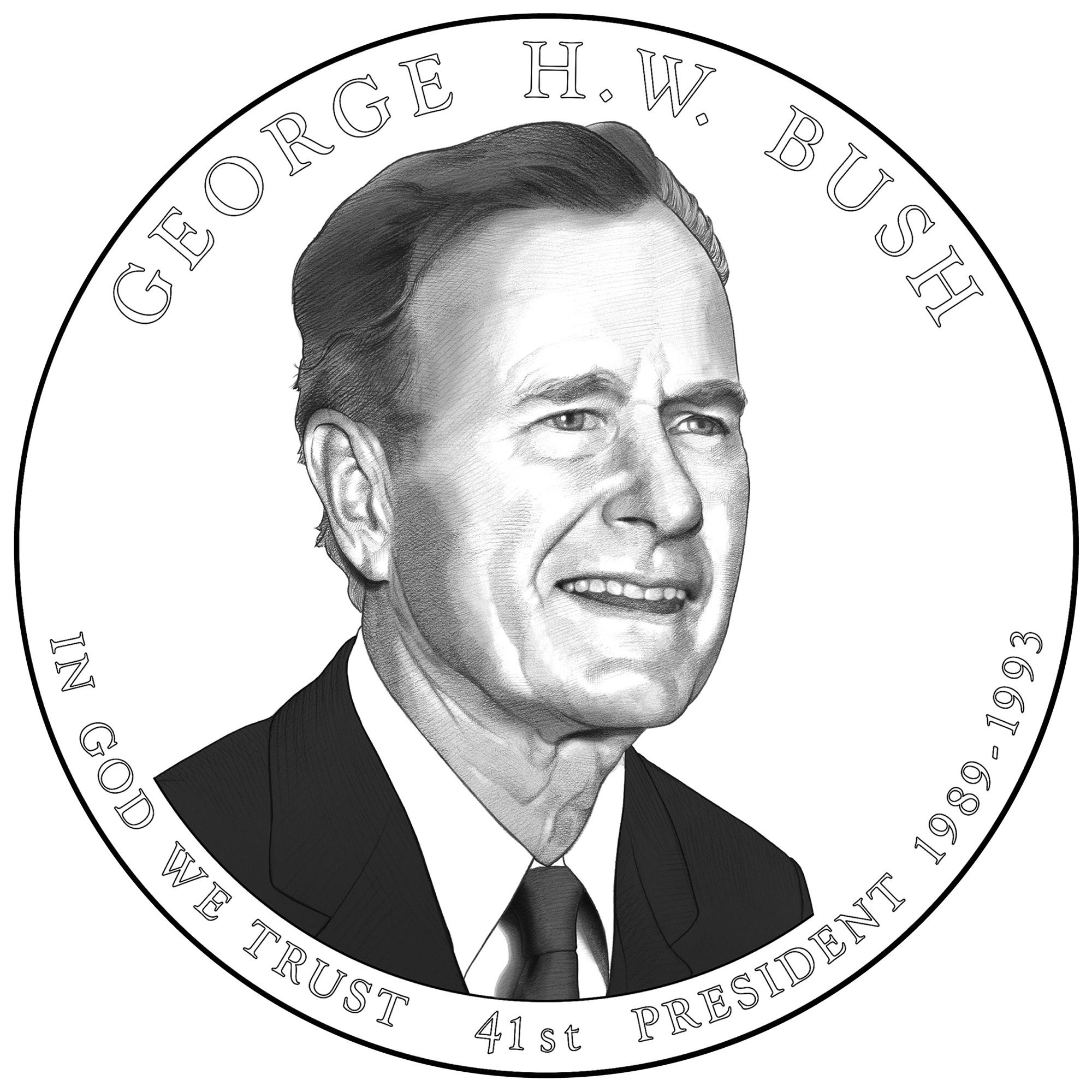 2020 Presidential Dollar Coin George H.W. Bush Line Art Obverse