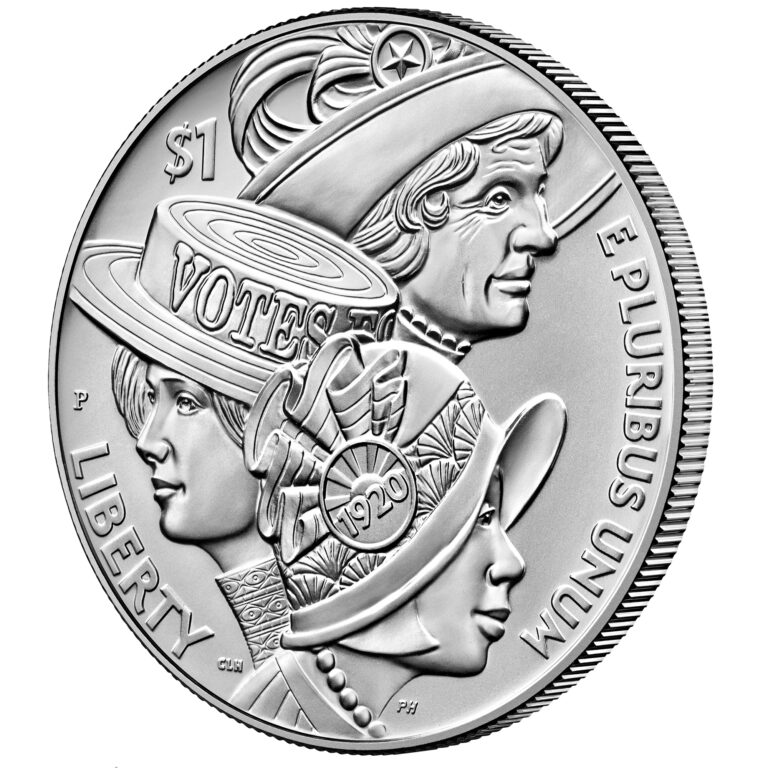 2020 Women's Suffrage Centennial Commemorative Silver Dollar Uncirculated Obverse Angle