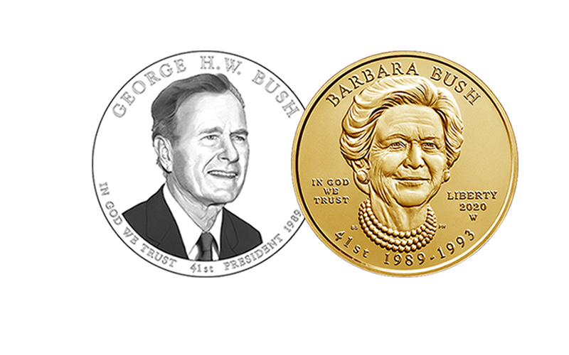 George H.W. Bush Presidential $1 Coin and Barbara Bush First Spouse Gold Coin obverses