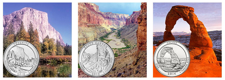 yosemite, grand canyon, arches quarter reverses with the landmarks shown in the coin designs